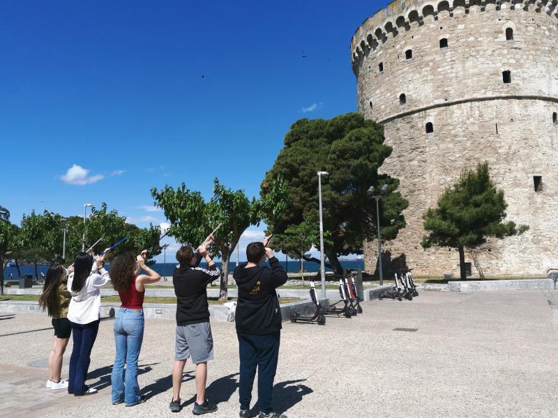 2ο Πρότυπο Λύκειο - Θεσσαλονίκη: Μέτρηση ύψους του Λευκού Πύργου με εξάντα